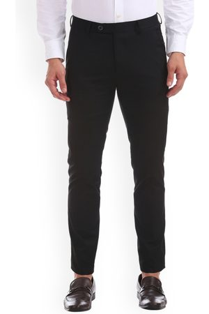 Arrow Men Black Skinny Fit Solid Regular Trousers