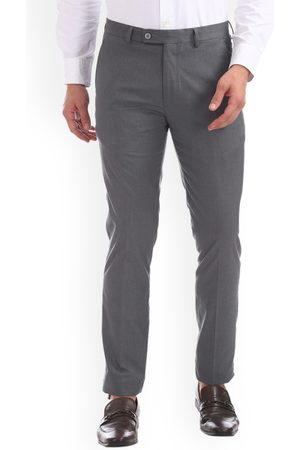 Arrow Men Grey Skinny Fit Solid Formal Trousers