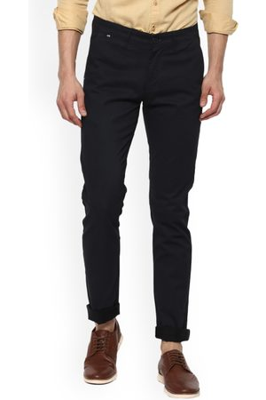 SPYKAR Men Navy Blue Slim Fit Solid Regular Trousers