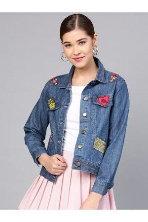 STREET 9 Women Blue Solid Denim Jacket