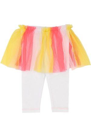 Billieblush Cotton Jersey Leggings W/ Tulle Skirt