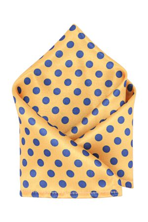 Blacksmith Men Yellow Printed Pocket Square