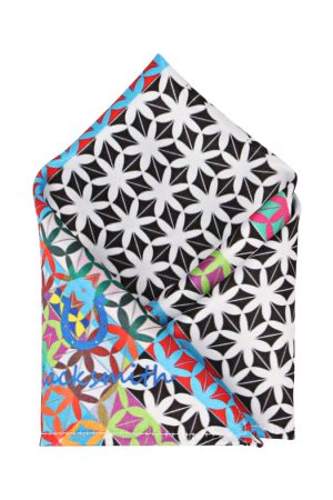 Blacksmith Men White & Black Printed Pocket Square