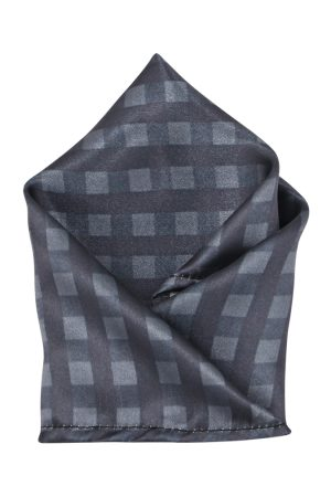 Blacksmith Men Grey Checked Pocket Square