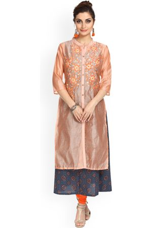 Alena Women Peach-Coloured Embroidered A-Line Kurta