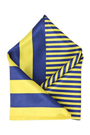 Blacksmith Men Yellow & Blue Striped Pocket Square