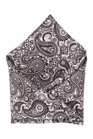 Blacksmith Men Grey Printed Pocket Square