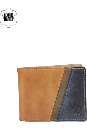 Ralph Lauren Men Tan & Blue Colourblocked Two Fold Wallet