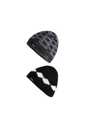Knotyy Men Black & Grey Self Design Beanie