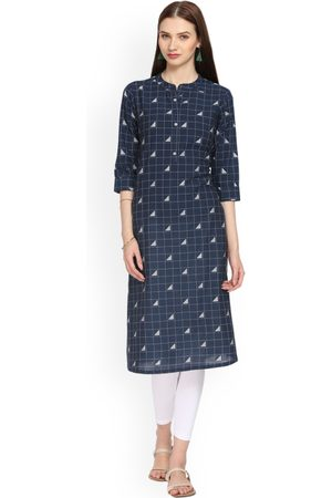 ALENA Women Navy Blue Checked Straight Kurta