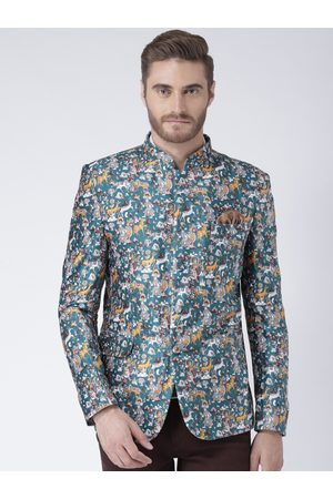 Hangup Men Multicoloured Printed Single-Breasted Blazer
