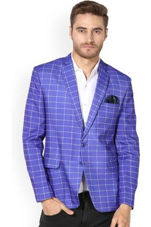 Hangup Men Purple & White Checked Single-Breasted Blazer