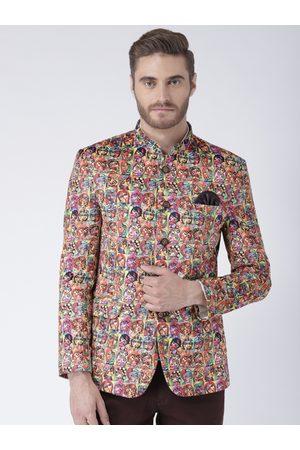 Hangup Men Multicoloured Printed Single-Breasted Blazer