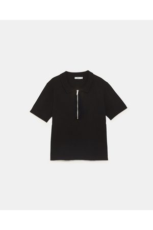 Zara KNIT POLO SHIRT WITH ZIP