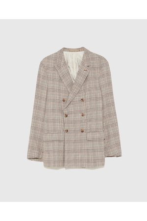 Zara CHECK DOUBLE-BREASTED SUIT BLAZER