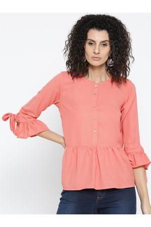 Style Quotient Women Coral Orange Solid A-Line Top