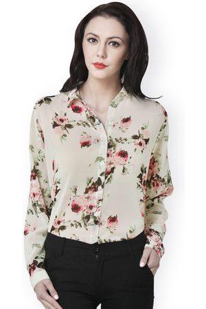 PURYS Women Beige Floral Printed Shirt
