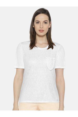 Vero Moda Women White Solid Sheer Top