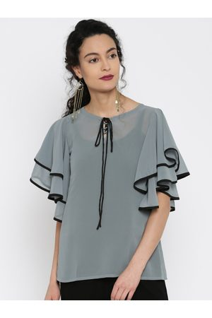Miss Chase Women Grey Sheer Top