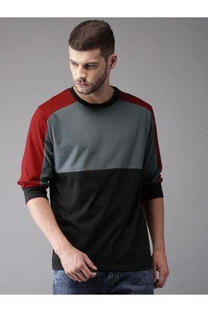Moda Rapido Men Grey & Black Colourblocked Round Neck T-shirt