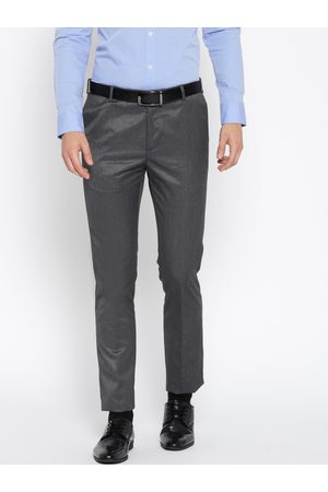 Arrow Men Grey Tapered Fit Solid Formal Trousers