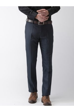 AJC Men Navy Slim Fit Solid Formal Trousers