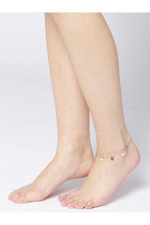 OOMPH Women Gold-Toned Dual-Stranded Charm Anklet