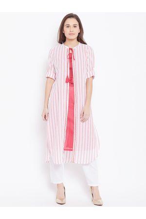 AURELIA Women Red & White Solid Layered Straight Kurta
