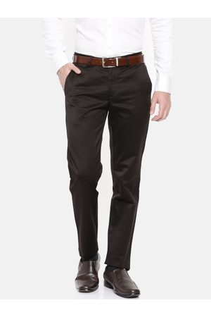Peter England Men Slim Fit Solid Formal Trousers