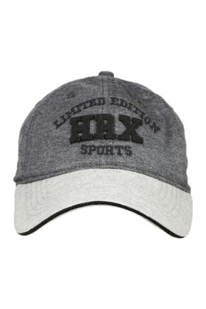 HRX Men Charcoal Grey Embroidered Cap