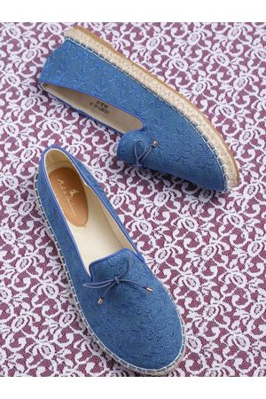 Mast & Harbour Women Blue Embroidered Espadrille Ballerinas