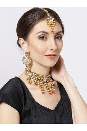 Priyaasi Gold-Toned & Red Kundan-Studded Jewellery Set
