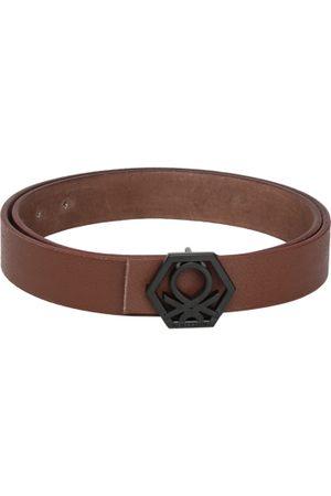 Benetton Men Tan Textured Leather Belt