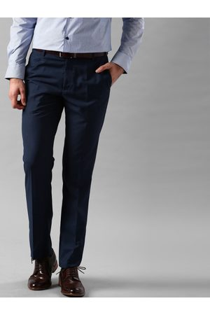 INVICTUS Men Navy Blue Slim Fit Solid Formal Trousers