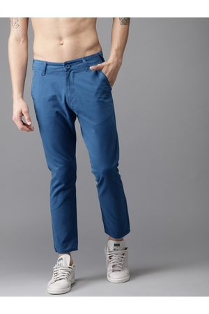 HERE&NOW Men Blue Slim Fit Solid Cropped Chinos
