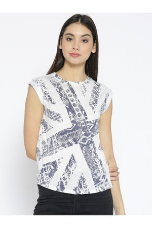 Pepe Jeans Women Off-White Printed Round Neck T-shirt