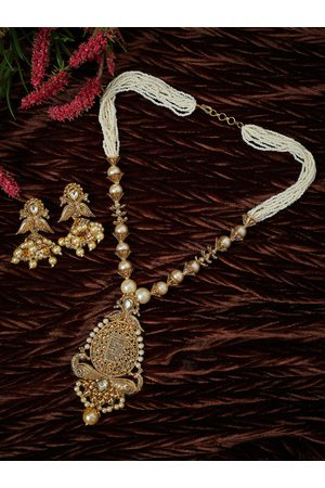 PANASH Gold-Plated & Off-White Handcrafted Jewellery Set