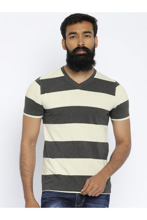 American Crew Men Beige & Charcoal Grey Striped T-shirt