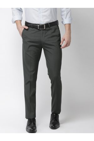 Arrow Men Charcoal Slim Fit Solid Formal Trousers