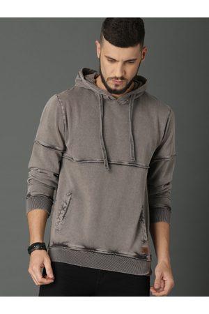 Roadster Men Charcoal Grey Solid Hooded Sweatshirt