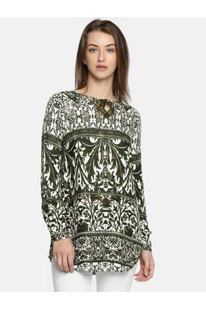 Vero Moda Green & White Tropical Print Tunic