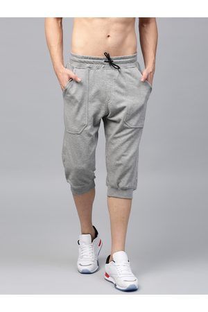 HRX Men Grey Melange Solid Sports Shorts