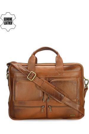 Teakwood Leathers Men Tan Brown Leather Laptop Bag