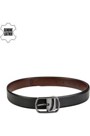 Teakwood Leathers Men Belts - Men Black & Brown Reversible Genuine Leather Belt