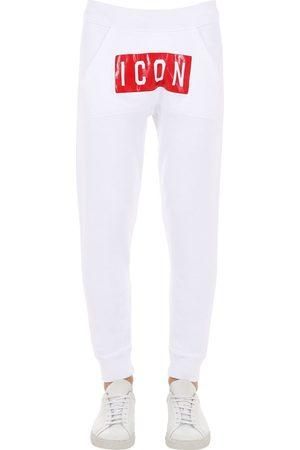 Dsquared2 Icon Print Cotton Jersey Sweatpants