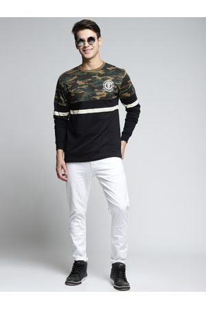 Difference of Opinion Men Khaki & Black Printed Round Neck T-shirt
