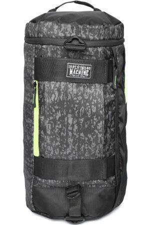 Flying Machine Men Black & Grey Printed Backpack