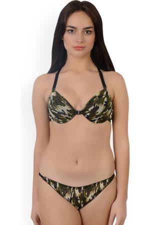 8487a5e18916c Da Intimo Women Green Printed Lingerie Set DI1190