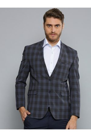 Louis Philippe Louis Philippe Men Navy Checked Formal Single-Breasted Blazer