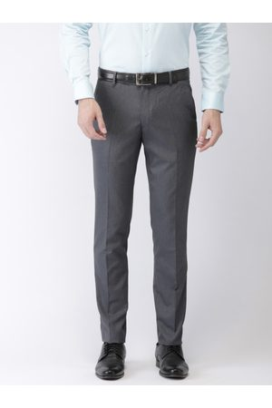 Black coffee Men Grey Solid Slim Fit Flat-Front Trousers